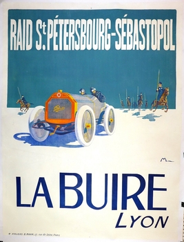 La Buire original vintage auto advertising poster Montaut