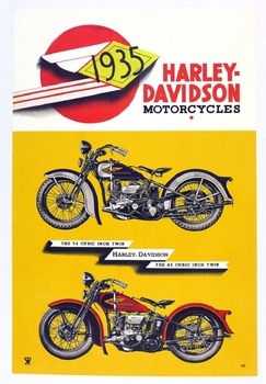 Harley Davidson 1935 original vintage motorcycle dealer advertising display poster