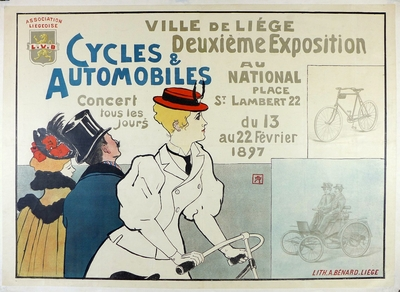 Cycles & Automobilies original vintage 1897 exposition advertising poster