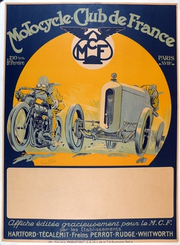 Motorcycle Club de France original vintage motorcycle race event poster Geo Ham
