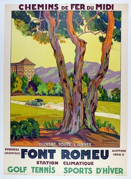 Font Romeu original vintage French travel poster featuring touring car