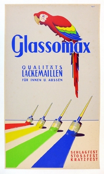 Glassomax original vintage paint poster Rauer art for Glasurit