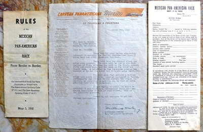 1950 Carrera Panamericana original vintage information letter, rules book, entry form
