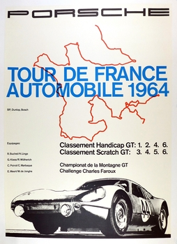 Tour de France 1964 original vintage Porsche commemorative race event poster 904 Herbert Linge