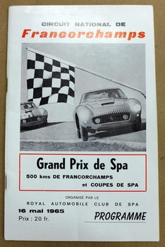 Spa Francorchamps original vintage auto race program Ferrari 250 SWB Berlinetta