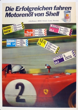 Shell 1972 victories original vintage race commemorative poster