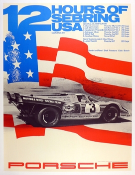 12 Hours of Sebring 1971 original vintage Porsche race commemorative poster