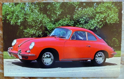 356 C Porsche post card original vintage