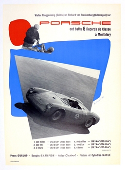 6 International Records at Monthlery 1955 original vintage Porsche racing commemorative poster