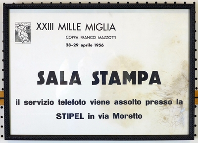 1956 Mille Miglia original vintage Press Office sign