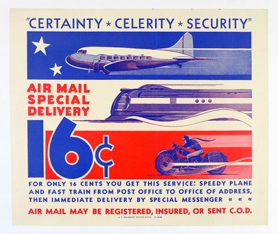 Air Mail Special Delivery original vintage advertising poster