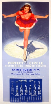 1954 Perfect Circle pin-up original vintage calendar