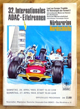 1969 Eifelrennen original vintage auto race event program Nurburgring