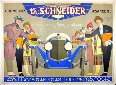 Automobiles th Schneider original vintage art deco 1925 Lauro