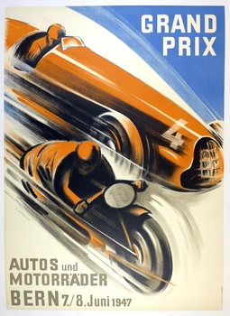 Grand Prix Bern 1947 original vintage auto and motorcycle race event poster