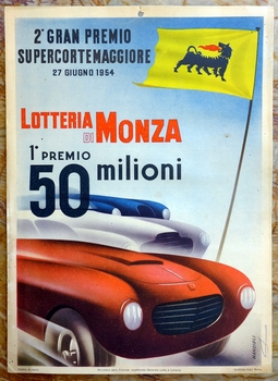 1954 Lotteria di Monza original vintage auto race event window card