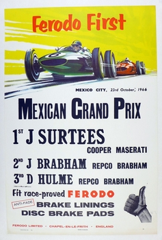 Mexico Grand Prix 1966 original vintage commemorative race poster