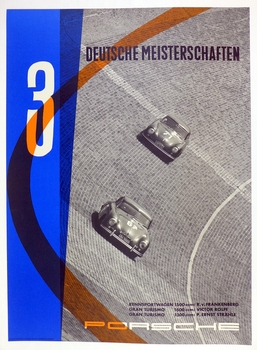 3 German Championshps original vintage Porsche Factory racing poster