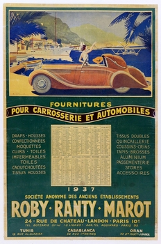 Roby Ranty Marot supplies for carriages and automobiles original vintage advertising poster