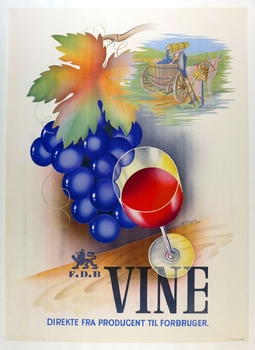 Vine original vintage wine advertising poster