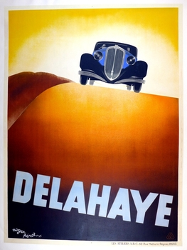 Delahaye original vintage auto advertising poster Perot 1935