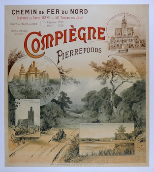 Compiegne original vintage 1900's French travel poster with early motor car