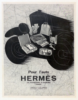 Hermes luggage for the auto original vintage poster