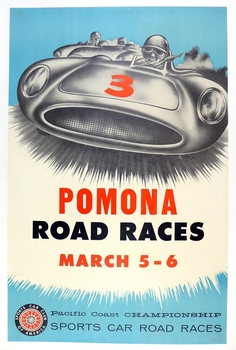 1960 Pomona Road Races original vintage auto race event poster