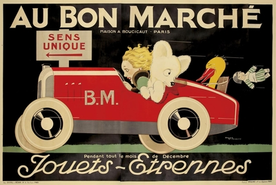 Au Bon Marche original vintage advertising poster Rene Vincent
