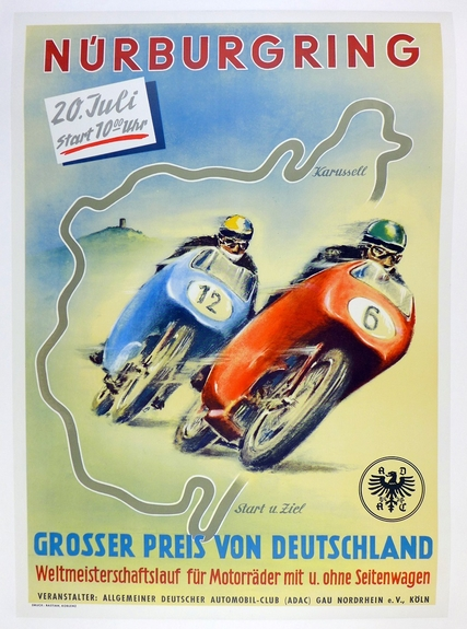 Nurburgring 1958 original vintage motorcycle race event poster
