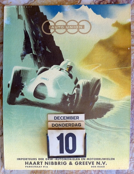Auto Union perpetual calendar original vintage auto racing advertising