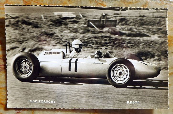 Porsche F-1 at 1962 Dutch GP Bonnier post card