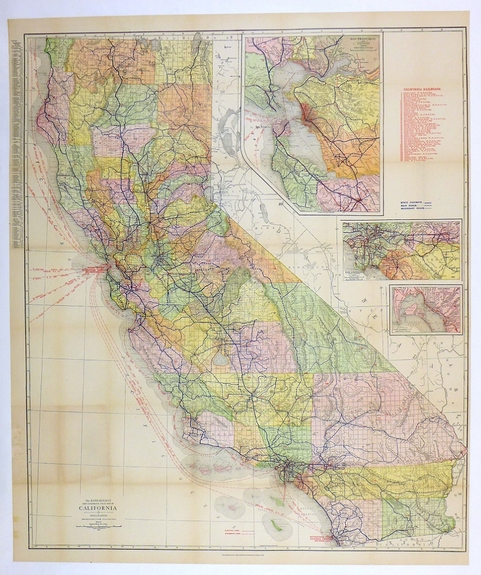 1915 California State map original vintage International Panama California Exposition San Francisco San Diego Rand-McNally