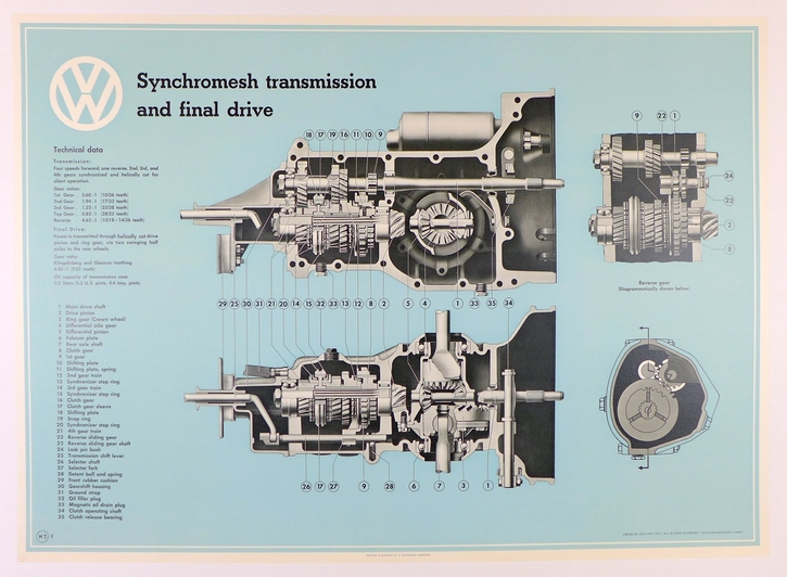 VW technical & service poster set original vintage 1954-1959