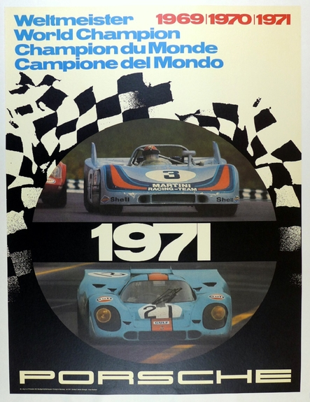 world champion 1971 original vintage commemorative poster Porsche 917
