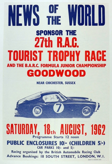 Tourist Trophy 1962, original vintage event poster