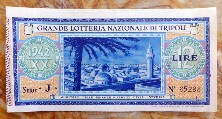 Lotteria di Tripoli 1942 ticket