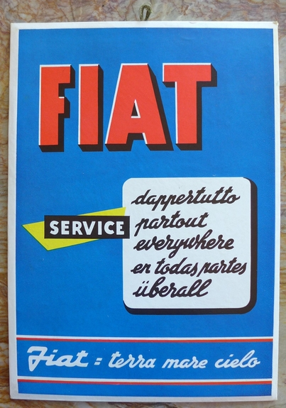 Fiat Service Everywhere vintage original window card