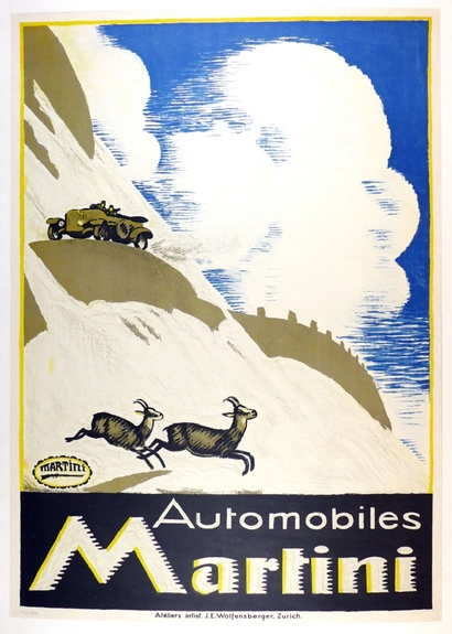 Martini Automobiles original vintage Swiss advertising poster Cardinaux