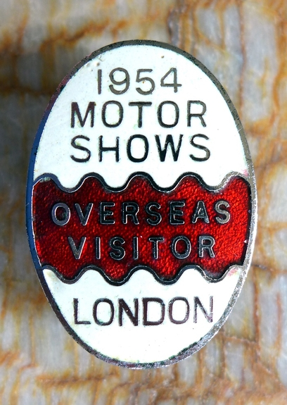 1954 London Motor Show overseas visitor original vintage lapel pin