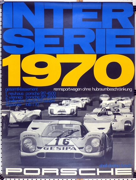 Interserie 1970 original vintage Porsche race commemorative poster