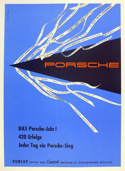 Porsche 1954 Over 420 Successes original vintage Factory race commemorative poster