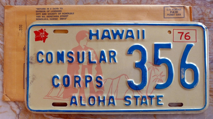 356 Consular Corps 1976 Hawaii license plate NOS